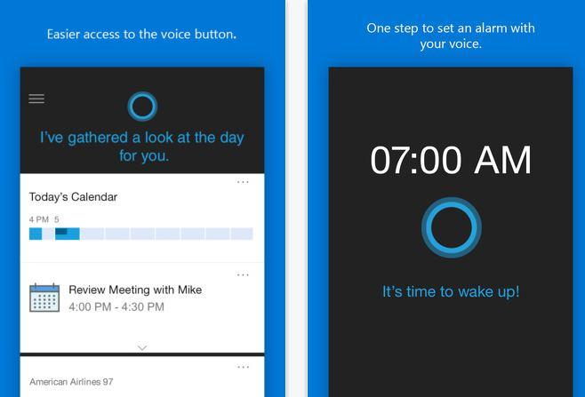 Cortana for iOS screens