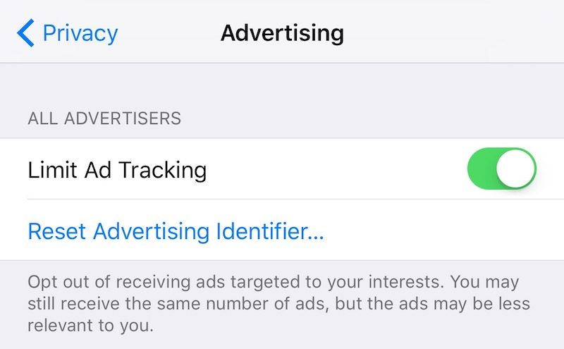 limit ad tracking ios 10 settings