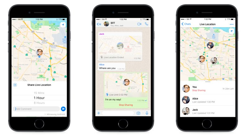 whatsapp live sharing location