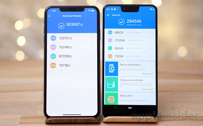 Google Pixel XL vs iPhone XS Max AnTUTU