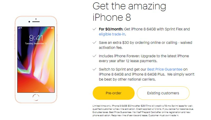 sprint iphone upgrade sprint offers a free iphone 8 if you trade in an iphone 7 1027